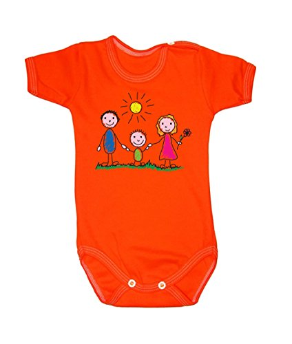 Couleur Mode Dessin Famille Sunny Day bodies à manches courtes 100% coton Petit bébé, 52–24 mois 0015 Orange newborn, 56 cm