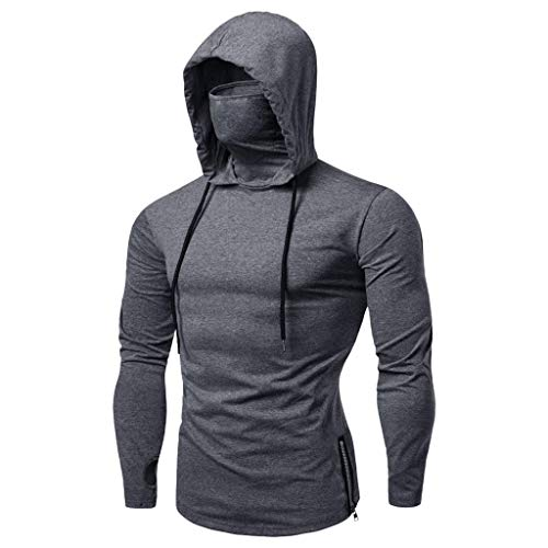 Mens Face_Cover Button Sports Sleeveless/Short/Long Sleeve Vest Hooded Splice Large Open-Forked Male Tank Tops Shirt Blouse with