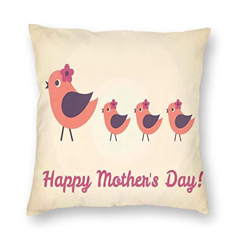 Funda de cojín, diseño de pájaro madre y sus hijos con flores pequeñas, caminando en línea, 30,48 x 30,48 cm, funda de almohada decorativa cuadrada