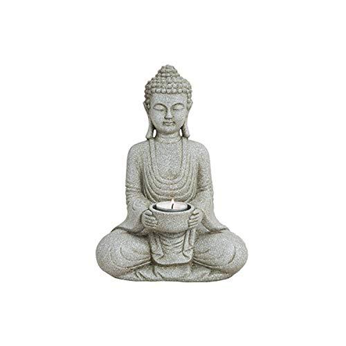 WOMA Deko Buddha Figur mit Teelichthalter - 27cm hoch - Wetterfeste Budhha Statue als Dekoration für Haus, Wohnung & Garten - Skulptur aus Polyresin - Grau
