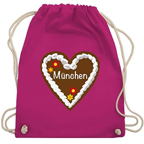 Shirtracer Oktoberfest Beutel - Lebkuchenherz München - Unisize - Fuchsia - münchen tasche - WM110 - Turnbeutel und Stoffbeutel aus Baumwolle