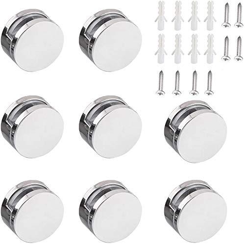 8 soportes de espejo redondos multiusos para pared, incluye tubo de expansión y tornillos, soporte de pared de clip de cristal (plata)