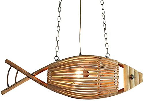 Lampada a sospensione bambù Retro / Vintage Design Creativo Pesce Appeso Light 2 Fiamma Altezza Lampada sospensione regolabile adatta per ristorante Cucina soggiorno corridoio lampadario a soffitto la