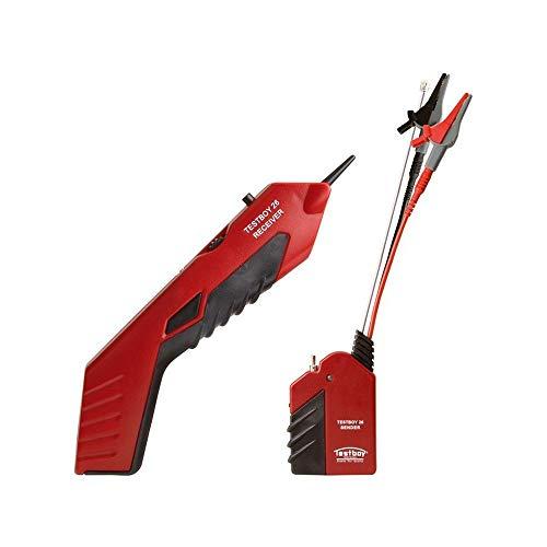 Testboy 26 Leitungssucher-Set, Kabelfinder, Leitungsfinder (Kabelsuchgerät für nicht spannungsführende Leitungen, mit praktischer LED-Anzeige, einstellbarer Sende- & Empfangspegel), Rot/Schwarz