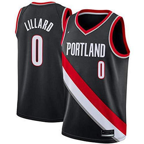 QKJD NBA Abbigliamento Basket City Edition Trailblazer No. 0 Lillard Nero Bianco Rosso Maglietta Estiva Traspirante e Assorbente dal Sudore Felpa Fitness B-L