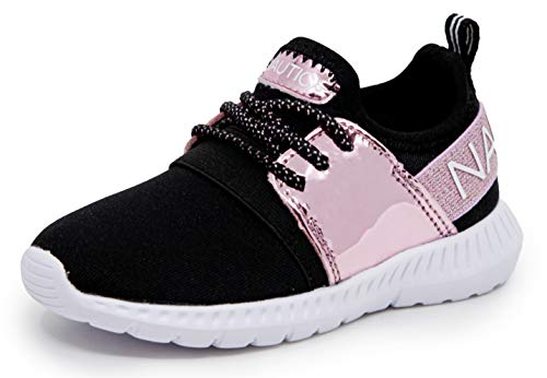 Nautica Missy Youth Girls Athletic Fashion Cross Trainer Lace Up Running Sneakers-Kappil Metallic-Pink Metallic Black-4