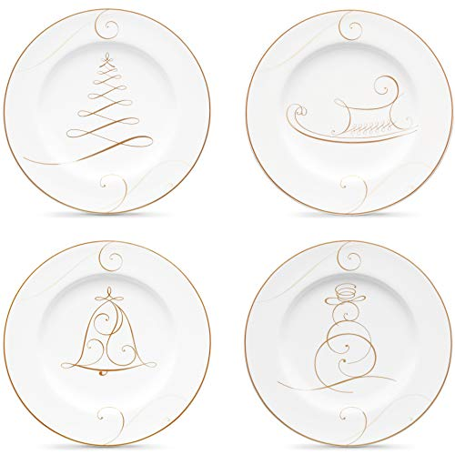 "Noritake Golden Wave Plates / Holiday Appetizers, Set/4, 6 3/4"" in White"