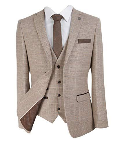 SIRRI Paul Andrew Herren Karierter Tweed-Retro-Anzug in Beige - Gr. 56-40 W