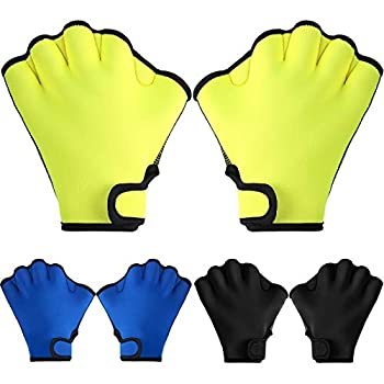 3 Pairs Aquatic Gloves Swim Training Gloves Waterproof Webbed Swimming Gloves Hand Paddles Fingerless Aqua Flippers Gloves for Men Women Diving Surfing Pool Exercise 3 Colors  Black Blue Yellow