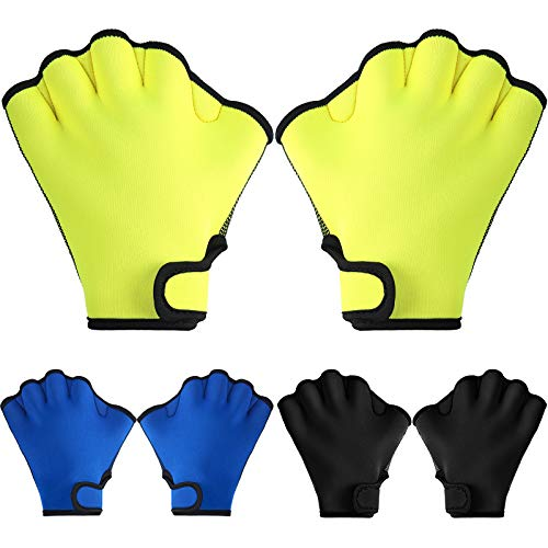 3 Pairs Aquatic Gloves Swim Training Gloves Waterproof Webbed Swimming Gloves Hand Paddles Fingerless Aqua Flippers Gloves for Men Women Diving Surfing Pool Exercise, 3 Colors (Black, Blue, Yellow)