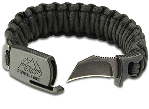 "Outdoor Edge ParaClaw - Tactical EDC Paracord Knife Bracelet with 1.5"" Hawkbill Blade (Black, Medium)"