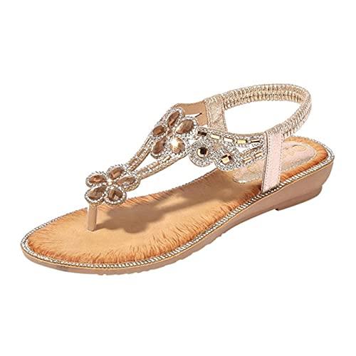 FKKLGNBDR Sandalias Rhinestone Ladies Zapatos Sandalias Moda Pendiente Flores Bohemio Sandalias Sandalias Vestido de Verano Banda Elástica Sandalias Damas Sandalias de Moda para Mujer