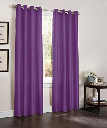 Thermal Curtains, Eyelet Curtains Thermal Insulated Blackout Curtains 2 Piece Top Ring Curtains 100% Polyester Fabric(Eyelet 4cm) Rayon purple simple stylish and warm with silver buttonholes