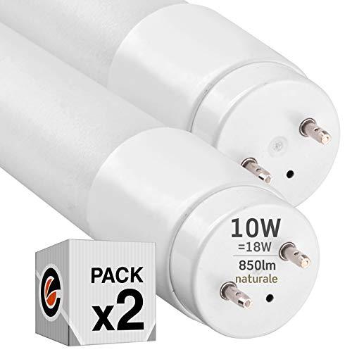 2x Tubi LED 60cm G13 T8 10W 850 lumen - Luce Bianco Naturale 4000K - Fascio Luminoso 160° - Sostituzione Neon