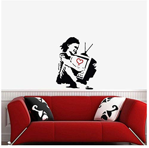 Meisje Knuffels De Tv Graffiti Patroon Verwijderbare Muursticker voor Woonkamer Huisdecoratie Vinyl Muurstickers Slaapkamer57X74Cm