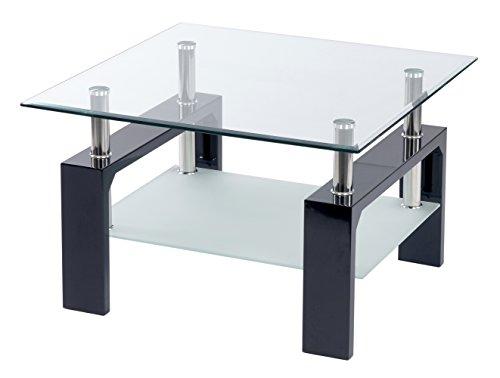 ts-ideen Design Wohnzimmer Couch Glastisch Glas Beistell-Tisch Edelstahl Holz Hochglanz Schwarz + 8 mm ESG Sicherheitsglas mit Ablage