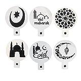 foviupet 3/6 Stück Moschee Eid Mubarak Ramadan Kaffee Schablone Keks Formen Fondant Kuchen Dekoration Werkzeuge