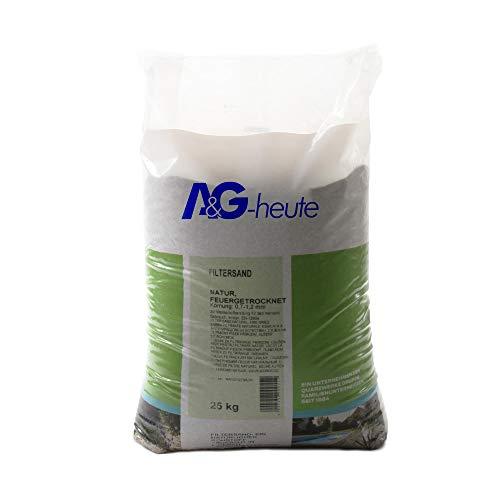 A&G-heute A&G Min2C 25kg Filtersand Körnung 0.7-1.2 mm Poolfilter Teichfilter Quarzsand für Sandfilteranlagen Feuergetrocknet