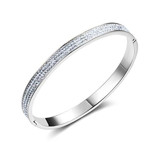 LSJO Joyas de Acero de Titanio Pulsera de Diamantes de cerámica Suave