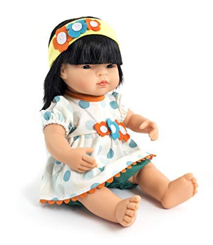 Miniland poppenkleding, 38-40 cm Blouse, broek en hoofdband. 38-40 Cm wit, blauw, oranje, geel.