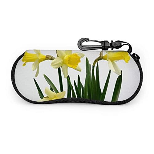 Funda de Gafas Narcisos Flores Primavera Amarilla Narciso Bebé Ultra Ligero Neopreno Suaves viaje Estuche para Gafas de caso Bolsa con Clip de Cinturón