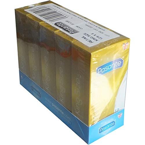 Pasante King Size, extra große Kondome mit 60mm Breite und 200mm Länge - ideal für Männer, die mehr Platz brauchen, 5 x 12 Stück