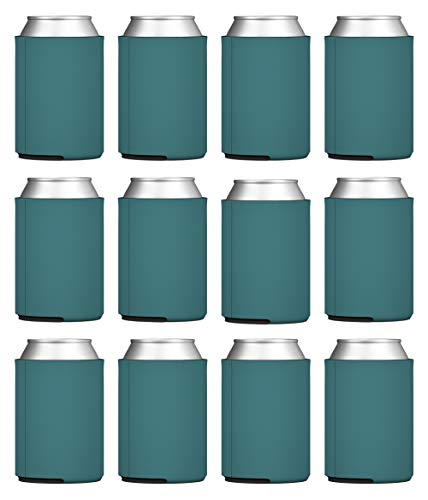 TahoeBay Blank Beer Can Coolers, Plain Bulk Collapsible Foam Soda Cover Coolies, Personalized Sublimation Sleeves for Weddings, Bachelorette Parties, HTV Projects (Teal)