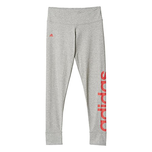 adidas Damen Tights Essentials Linear, Grau (Medium Grey Heather/Shock Red S16), L, AJ4595