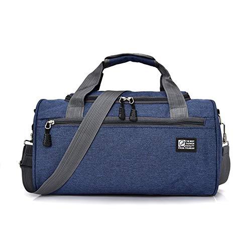 Jklt Large-capacity Luggage Bag Nylon Travel Bag Men Waterproof Casual Shoulder Cylinder Sports Bag Outdoor Casual Weekend (Color : Blue, Size : 37x22x20cm)