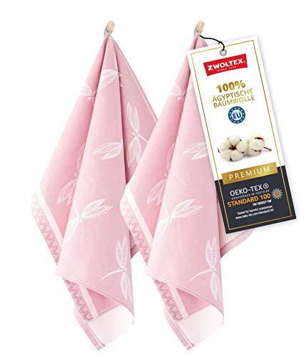 ZWOLTEX Hochwertige Geschirrtücher aus 100% Ägyptischer Baumwolle I Made IN EU I Oeko-TEX 100 I Jacquard Küchentücher - 2X Geschirrhandtücher mit Motiv Libelle Rosa