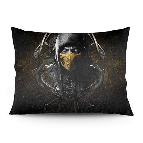 ZLCMMF Game Mortal Kombat Throw Pillow Covers Decorative Cotton Pillowcases for Living Room Sofa Couch Bed Soft Pillow Cases 20 x 26 Inch