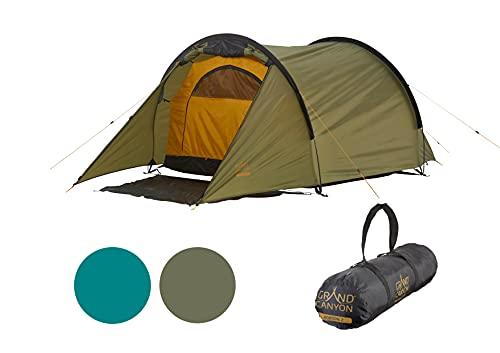 Grand Canyon Robson 2 - Tunnelzelt für 2 Personen | Ultra-leicht, wasserdicht, kleines Packmaß | Zelt für Trekking, Camping, Outdoor | Capulet Olive (Grün)
