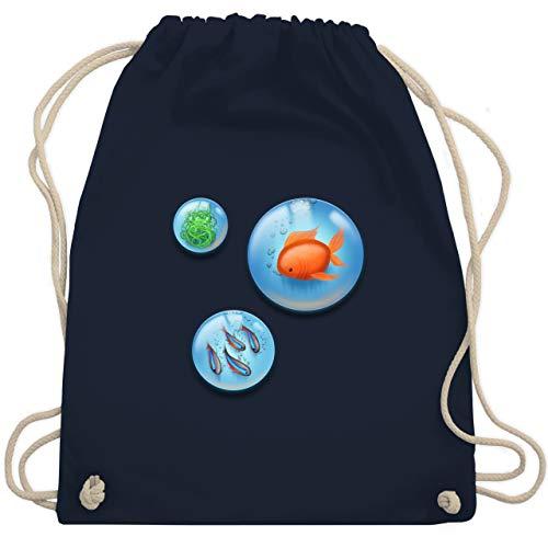 Shirtracer Sonstige Tiere - Aquarium Bubbles Fische - Unisize - Navy Blau - turnbeutel aquarium - WM110 - Turnbeutel und Stoffbeutel aus Baumwolle