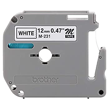Brother Genuine P-touch M-231 Tape 1/2   0.47   Standard P-touch Tape Black on White for Indoor Use Water Resistant 26.2 Feet  8M  Single-Pack