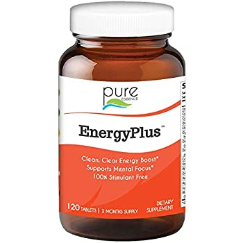 Energy Plus by Pure Essence - Caffeine Free All Natural Herbal Energy and Focus Supplement - Smooth No Jitters No Crash - 120 Tablets