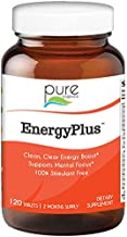 Energy Plus by Pure Essence - Caffeine Free, All Natural Herbal Energy and Focus Supplement - Smooth, No Jitters No Crash - 120 Tablets