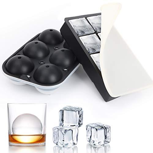 Eiswürfelform Groß XXL 60mm Eiskugelform Silikon mit Deckel, 8 Fach Quadratische Eiswürfelbehälter BPA Frei Ice Cube Tray für Whisky Cocktails, 2 Stück