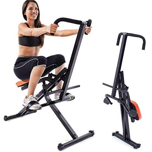 BAKAJI Attrezzo Total Body Allenamento Fitness Cardio Palestra Addominali Crunch Petto Spalle Gambe con Seduta Imbottita Regolabile Struttura in Acciaio Inox Pieghevole (Arancione)