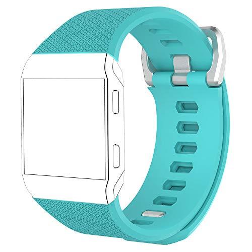 MyFitBands Bracelet de rechange pour Fitbit Ionic - Bracelet de rechange élégant et réglable - Fermeture sécurisée - Bleu sarcelle - Taille L