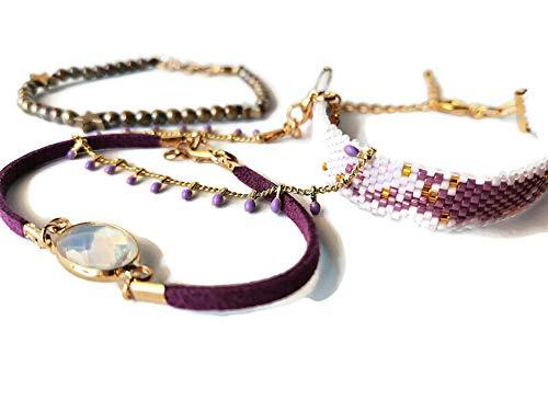 Conjunto cuatro pulseras diferentes con Miyuki, cristal checo y fornituras doradas. Pulseras...