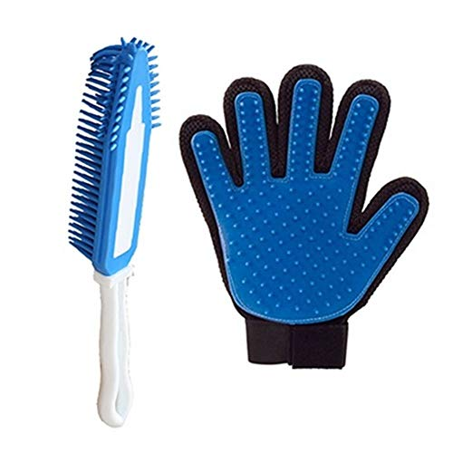 YUNGYE Pet Grooming Dog Haarbürste Kammhandschuh for Die Haustierreinigung Massage Grooming Supply Handschuh for Die Tierfingerreinigung Cat Hair Glove (Color : 1 Glove and 1 Brush, Size : Free Size)