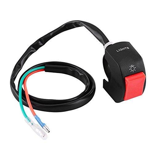 Commutatore manubrio moto Keenso Universale 7 / 8inch Mount LED Interruttore on/off faro con pulsante(Rosso)