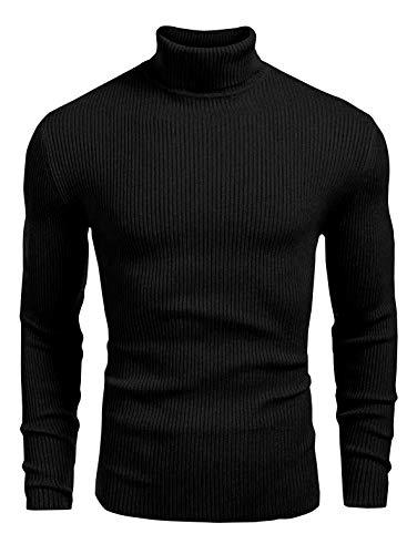 Ontarious Look Men's High & Turtle Neck (350 GM) Cotton T-Shirt (Black) - Large