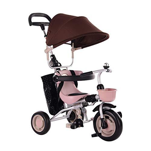 WENJIE Passeggino for,Lo Schienale Lungo È Rimovibile Bambini Triciclo 4 in 1 Triciclo Passeggino for Bambini Rosso Verde Marrone (Color : Brown)