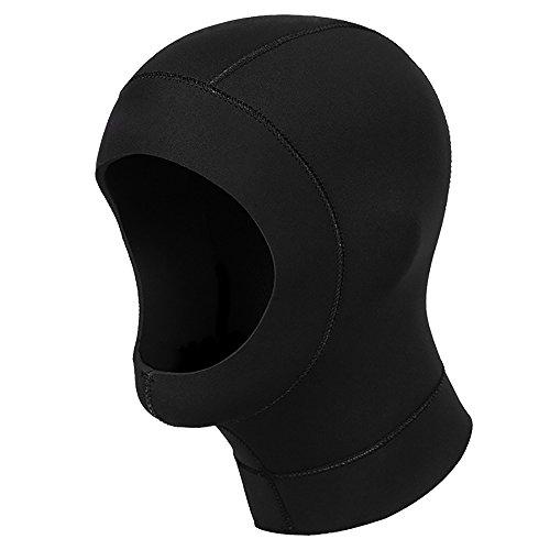 Alxcio Neopren Kopfhaube Tauchkopfhauben, Sonnenschutz Neoprenhaube Tauchhaube für Schnorcheln Schwimmen Wasser Sport Schwarz-S