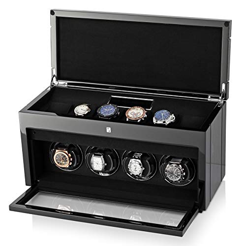 Watch Winder Box for Self-Winding 4 Automatic Watches with LED Case Backlight, LCD Display and 6 Watches Storage Compartment for All Watch Brands and All Watch Sizes (Black Apricot)