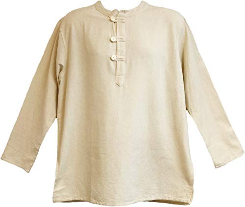 Yak & Yeti Mens Tunic Muslin Cotton Cream Colored 3-Button Loop Closure, Mandarin Collar (X-Large)