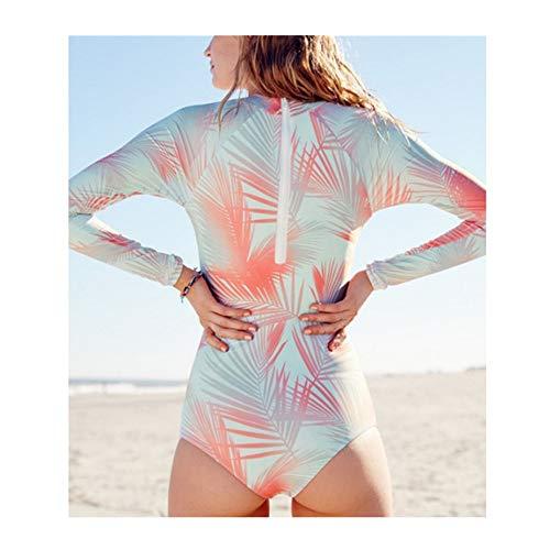 Damen Surfanzug Frauen-Surfen Badeanzug Langarm-Zip One Piece UV-Schutz-Druck (Color : Orange, Size : M)