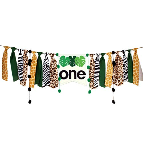 SOIMISS Highchair Banner 1st Birthday Boy Jungle Hunting Theme One Banner Rag Tie Fabric Garland Streamer First Birthday Party Decoration for Photo Booth Prop