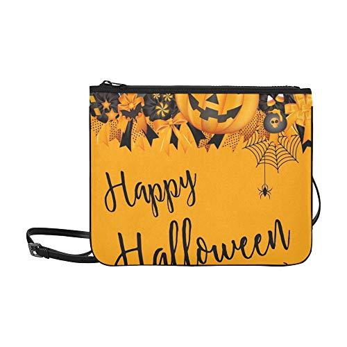 WYYWCY Halloween Party Design Vorlage Dekoration Pumpkinspiderbat Benutzerdefinierte hochwertige Nylon Slim Clutch Crossbody Tasche Umhängetasche